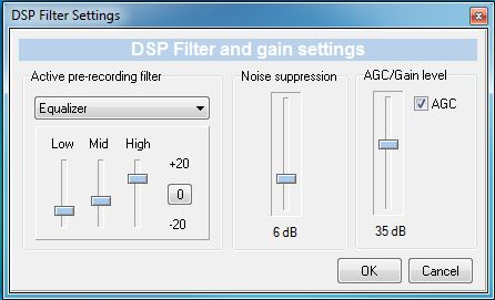 Snooper sound recorder DSP filter
