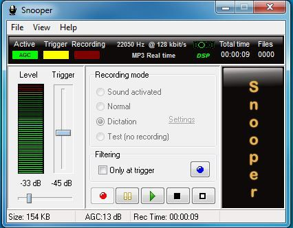 Snooper sound recorder main GUI